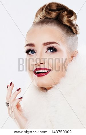 Happy Woman. Makeup White Fur and Diamonds Ring