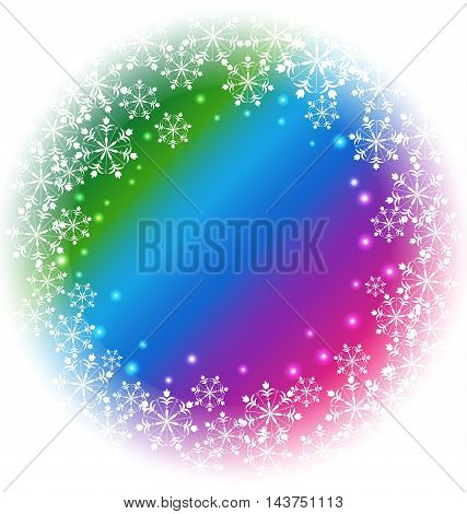 Abstract white Snowflakes vector on colorful background