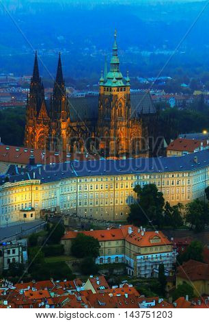 June 2015 Prague Czech republic. Panoramic view to St. Vitus cathedral from Petrin tower