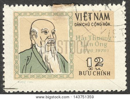 MOSCOW RUSSIA - CIRCA JULY 2016: a stamp printed in VIETNAM dedicated to the 250th Birth anniversary of Hai Thuong Lan Ong circa 1971