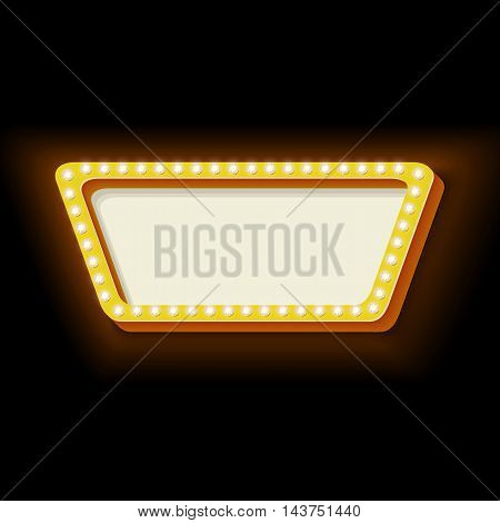 Red retro rectangle frame. The symbol vintage volume with rectangle glowing lights. Rectangle frame with neon lights. Frame Hollywood. Blank white space for your text ads business. illustration