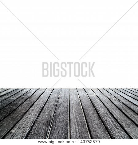 Rustic wood table in front empty space. Wooden table isolated on a white background display for you design