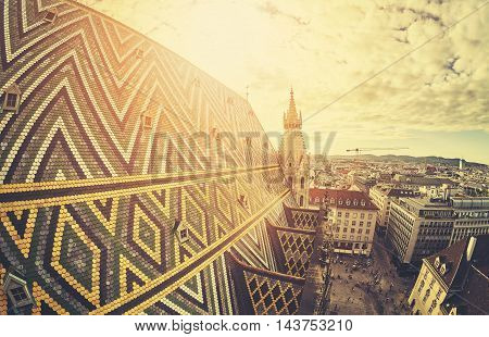 Retro Stylized Fisheye Lens Picture Of Vienna At Sunset.