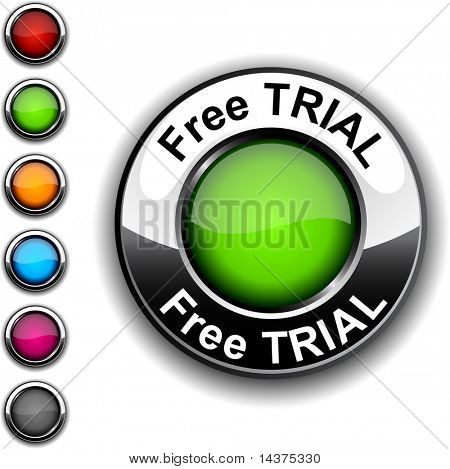 Free trial  realistic button. Vector.