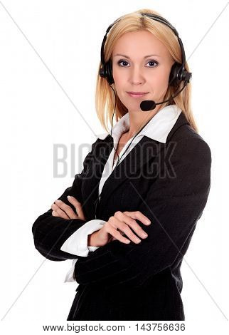 Woman from call center in hands free headset device, isolated on white background