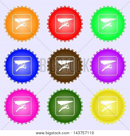 Hang-gliding Icon Sign. Big Set Of Colorful, Diverse, High-quality Buttons. Vector