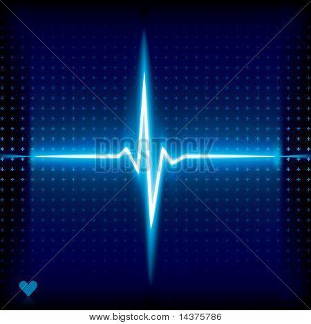 Blue heart beat. Ekg graph.