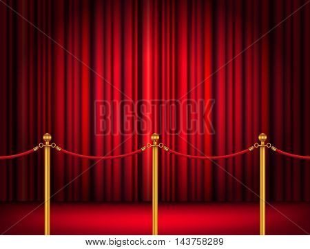 Velvet red rope barrier with a red curtain