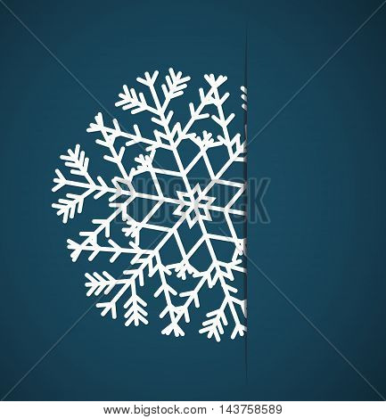 Vector Christmas snowflake applique in paper card on a blue background poster