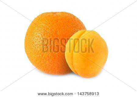 whole orange and apricot isolated on white background with clipping path