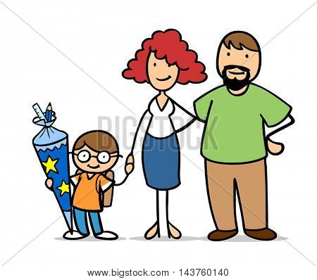 Boy with parents at first day of school with a school cone in his hands