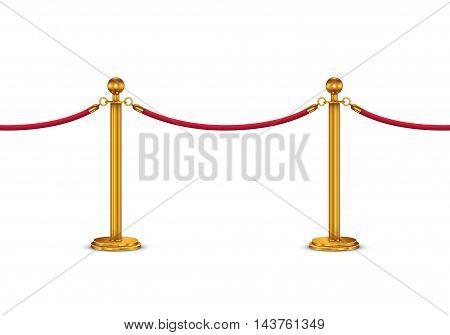 Golden velvet rope barrier isolated on white background
