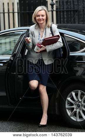 LONDON, UK, FEB 2, 2016: Liz Truss Secretary of State for Environment Food seen arriving for a cabinet meeting in Downing Street