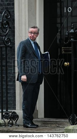 LONDON, UK, FEB 2, 2016: Michael Gove MP Lord Chancellor seen arriving at 10 Downing Street for a cabinet meeting