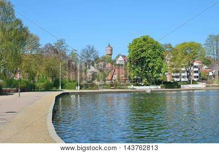 Promenade of Eutin at great Lake Eutin,Schleswig-Holstein,Germany