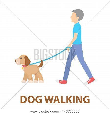Dog walk vector illustration icon in cartoon design