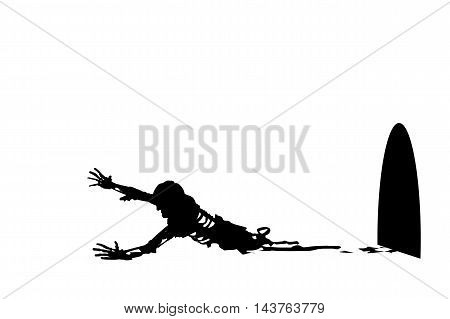 illustration of silhouette crawling half zombie with hole