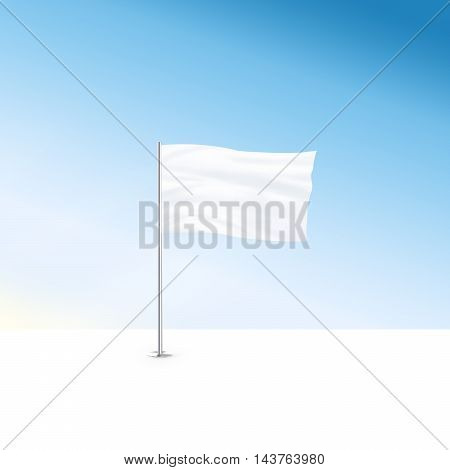 Blank white flag mock up stand at blue sky background 3d illustration. Large wavy flagpole mockup ready for business logo design presentation. Surrender symbol empty banner. Clear standart sign.