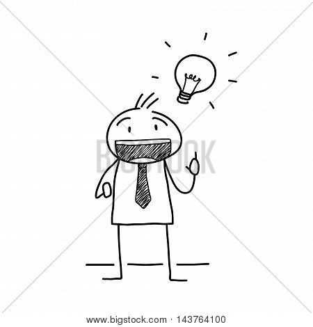 Creative Mind Business Doodle. A hand drawn vector doodle of a stick figure businessman with a brilliant idea.