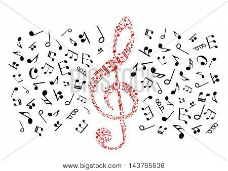 Music notes icons. Background with red treble clef shape of black vector musical stave elements