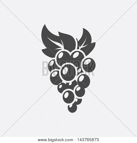 Grapes icon black. Singe fruit icon from the food collection.