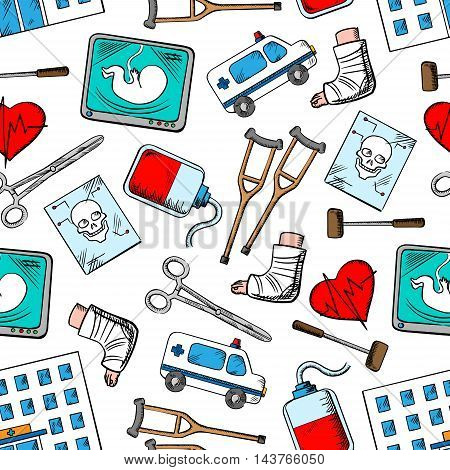 Medical seamless background. Wallpaper with vector pattern icons of ambulance, plaster foot, heart, ultrasonography, scissors, hospital, blood infusion. Medicine infographic poster