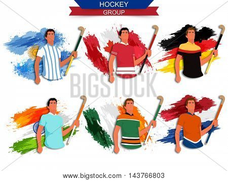 Hockey Group Players holding Hockey Sticks, Flags of Argentina, Canada, Germany, India, Ireland and Netherlands countries made by watercolor brush strokes, Creative Sports background.