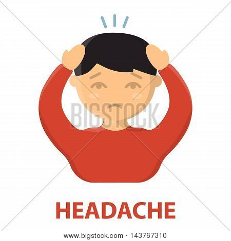 Headache icon cartoon. Single sick icon from the big ill, disease collection.