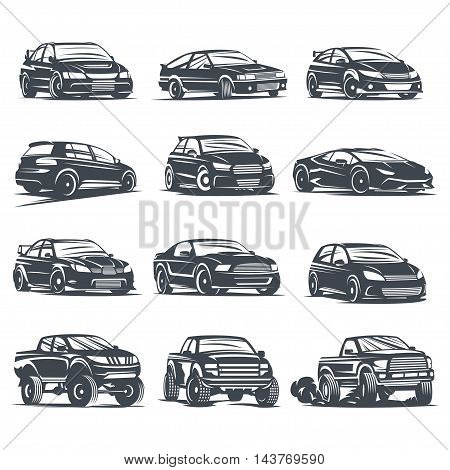Set of four sport cars logo badge illustration on white background. Drift Drag racing Tuning Motor Sport. Vector EPS 10.