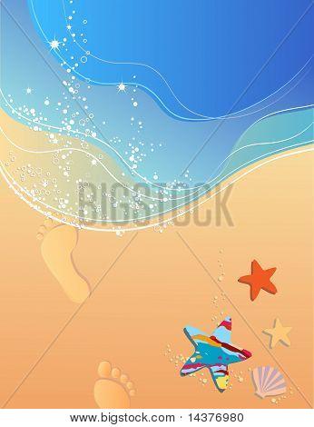 Beach, surf and footprints