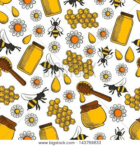 Sweet honey products seamless background. Wallpaper with vector pattern icons of honey, bee, honeycomb, jar, pot, spoon, flower. Beekeeping elements for patisserie, bakery, shop