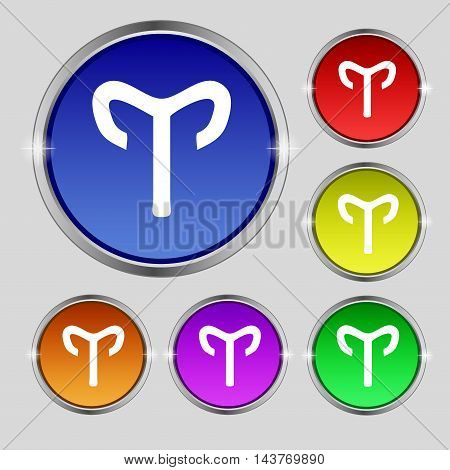 Decorative Zodiac Aries Icon Sign. Round Symbol On Bright Colourful Buttons. Vector