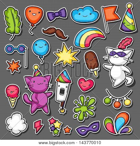 Carnival party kawaii sticker set. Cute cats, decorations for celebration, objects and symbols.