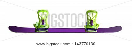 Back view of snowboard with bindings isolated on white background