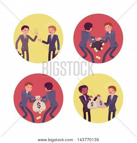 Set of four business scenes. Businessmen are handing, receiving and struggling for money. Cartoon vector flat-style concept illustration