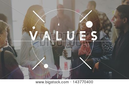 Values Cost Evaluate Price Spent Vision Worth Concept