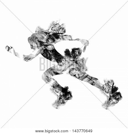 Female Relay Runner on white background, Creative vector illustration made by smoke effects for Sports concept.