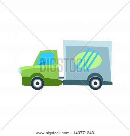 Small Delivery Truck Toy Cute Car Icon. Flat Vector Transport Model Simple Illustration Isolated On White Background.
