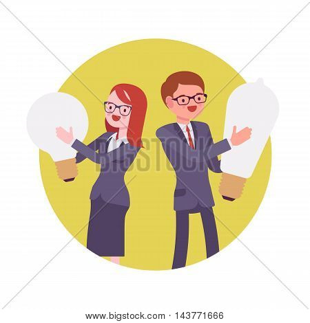 Man and woman hold light bulb. Yellow circle background. Cartoon vector flat-style concept illustration