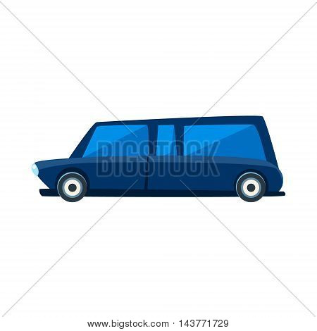 Limousine Toy Cute Car Icon. Flat Vector Transport Model Simple Illustration Isolated On White Background.