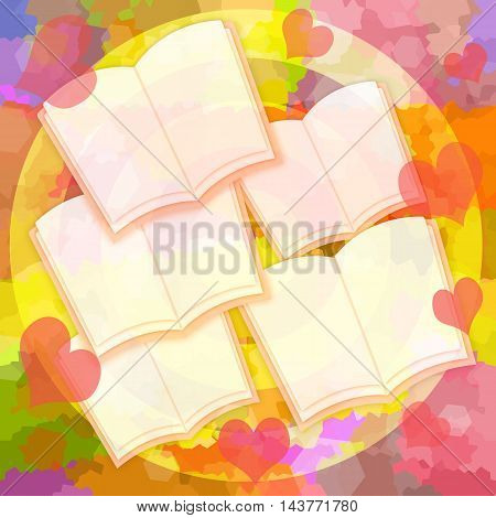 Opened books or diaries with blank pages and romantic love hearts on bright colorful background