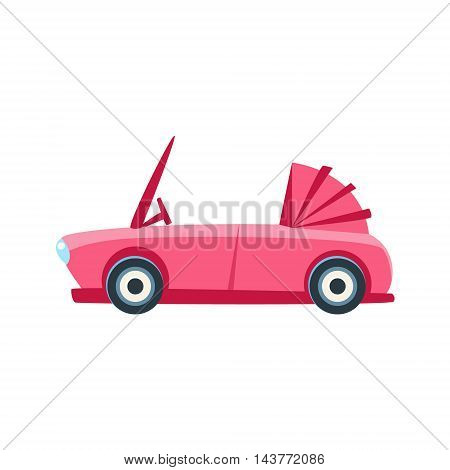 Pink Cabriolet Toy Cute Car Icon. Flat Vector Transport Model Simple Illustration Isolated On White Background.