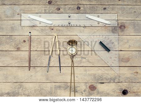 Navigation still-life. Skipper equipment, compass, ruler and protractor. Sailing concept.