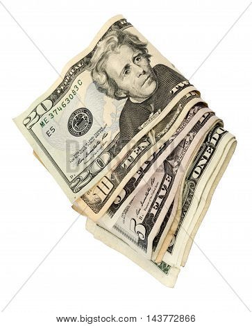 Vertical folded wad of cash isolated on white background