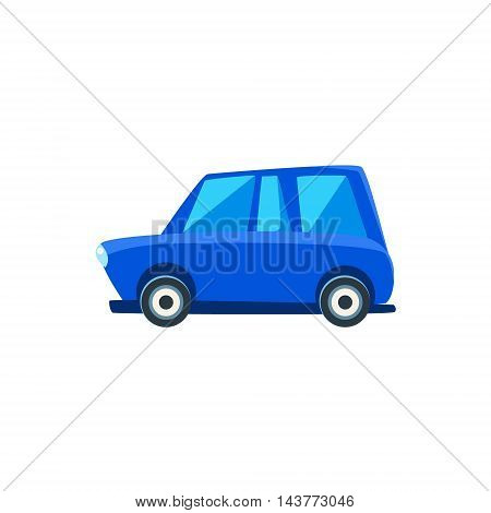 Blue Family Toy Cute Car Icon. Flat Vector Transport Model Simple Illustration Isolated On White Background.