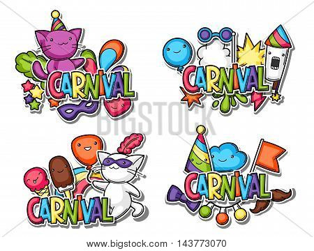 Carnival party kawaii sticker set. Cute cats, decorations for celebration, objects and symbols. poster