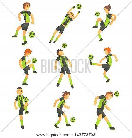 Football Players Of One Team With Ball Isolated Illustration Set. Flat Cartoon Characters In Simple Childish Style Vector Drawings.