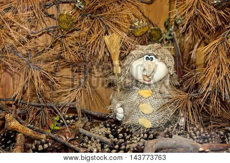 Baba Yaga  In Autumn Forest Thicket