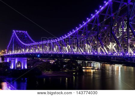 BRISBANE, AUSTRALIA: Story Bridge by Night - purple lights
