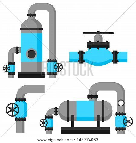 Natural gas heat exchanger, control valves and storage. Set of equipment.